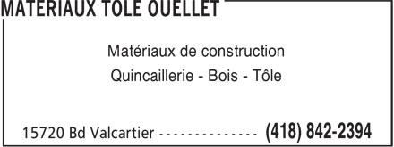 Matériaux tôle Ouellet (418-842-2394) - Annonce illustrée======= - Matériaux de construction Quincaillerie - Bois - Tôle