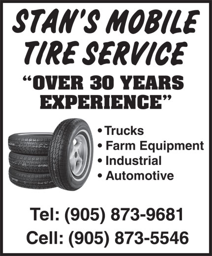 Stan's Mobile Tire Services (905-873-9681) - Annonce illustrée======= -