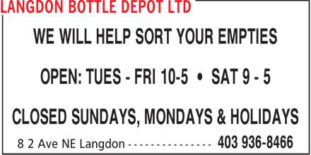 Langdon Bottle Depot Ltd (403-936-8466) - Display Ad -