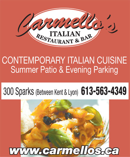 Carmello's Italian Restaurant (613-563-4349) - Display Ad -