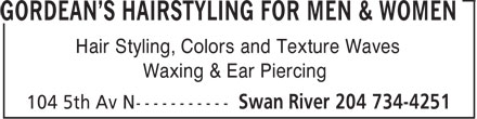 Gordean's Hairstyling For Men & Women (204-734-4251) - Annonce illustrée======= - Hair Styling, Colors and Texture Waves Waxing & Ear Piercing