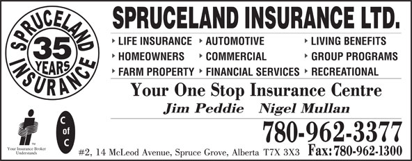 Spruceland Insurance Ltd (780-962-3377) - Display Ad - SPRUCELAND INSURANCE LTD. LIFE INSURANCE AUTOMOTIVE LIVING BENEFITS 35 HOMEOWNERS COMMERCIAL GROUP PROGRAMS RECREATIONAL FARM PROPERTY FINANCIAL SERVICES of 780- TM Your Insurance Broker Understands 780-
