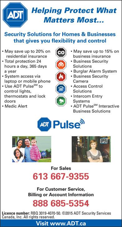 ADT Security Services Canada (1-888-685-5354) - Annonce illustrée======= -