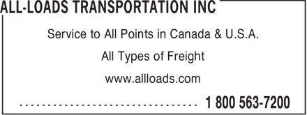 All Loads Transportation Inc (519-622-7200) - Display Ad - Service to All Points in Canada & U.S.A. All Types of Freight www.allloads.com  Service to All Points in Canada & U.S.A. All Types of Freight www.allloads.com  Service to All Points in Canada & U.S.A. All Types of Freight www.allloads.com  Service to All Points in Canada & U.S.A. All Types of Freight www.allloads.com  Service to All Points in Canada & U.S.A. All Types of Freight www.allloads.com  Service to All Points in Canada & U.S.A. All Types of Freight www.allloads.com  Service to All Points in Canada & U.S.A. All Types of Freight www.allloads.com  Service to All Points in Canada & U.S.A. All Types of Freight www.allloads.com