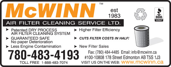 McWinn Air Filter Cleaning Service Ltd (780-483-4193) - Display Ad -