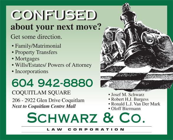 Schwarz & Co Law Corp (604-942-8880) - Annonce illustrée======= -