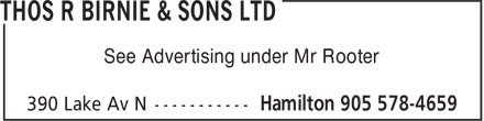 Thos R Birnie & Sons Ltd (905-578-4659) - Annonce illustrée======= - See Advertising under Mr Rooter