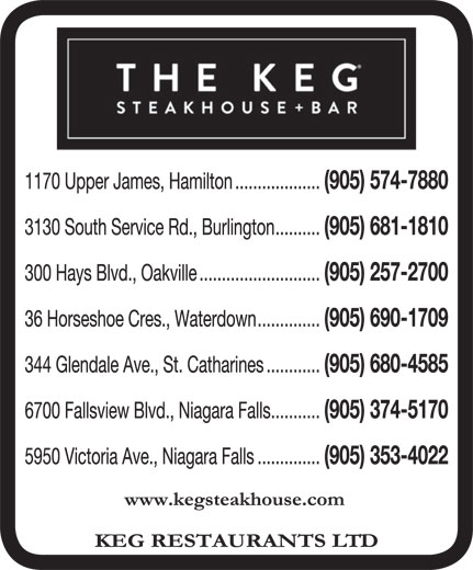 The Keg Steakhouse & Bar (905-574-7880) - Annonce illustrée======= -