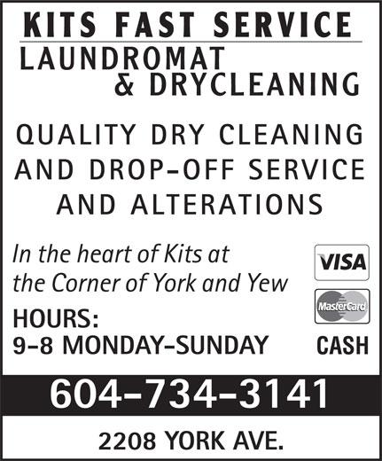 Kits Fast Service Laundromat & Drycleaning Ltd (604-734-3141) - Annonce illustrée======= -