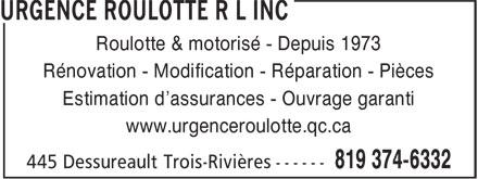 Ads Urgence Roulotte R L Inc