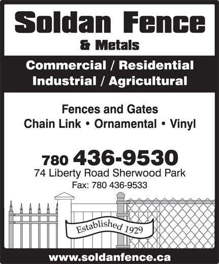 Soldan Fence & Metals (780-436-9530) - Annonce illustrée======= -