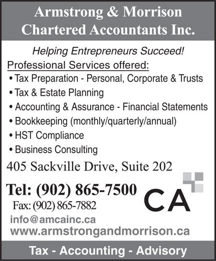 Armstrong & Morrison Chartered Accountants Inc (902-865-7500) - Annonce illustrée======= -