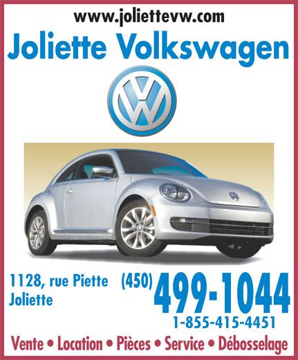 Joliette Volkswagen (450-756-4515) - Annonce illustrée======= - www.joliettevw.com Joliette Volkswagen 1128, rue Piette Joliette 499-1044 1-855-415-4451 Vente   Location   Pièces   Service   Débosselage (450)