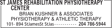Kushner Brian (204-786-5944) - Annonce illustrée======= - BRIAN KUSHNER & ASSOCIATES PHYSIOTHERAPY & ATHLETIC THERAPY