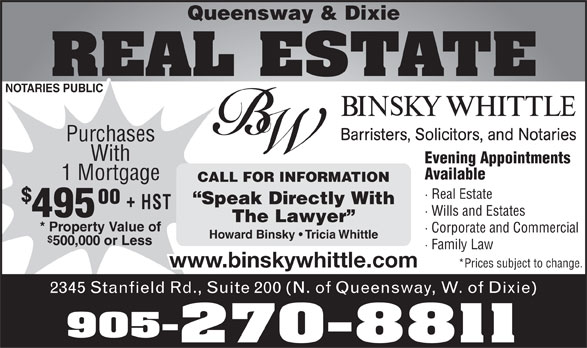 Binsky Whittle (905-270-8811) - Annonce illustrée======= -