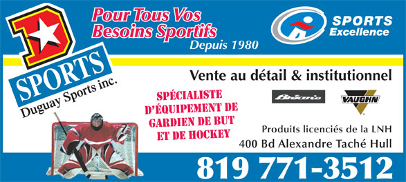 Duguay Sports Inc (819-771-3512) - Display Ad -