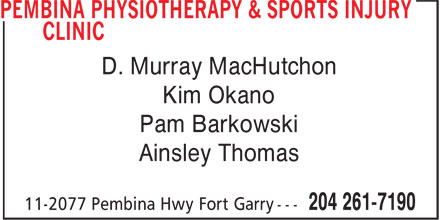 Pembina Physiotherapy & Sports Injury Clinic (204-261-7190) - Display Ad - D. Murray MacHutchon Kim Okano Pam Barkowski Ainsley Thomas
