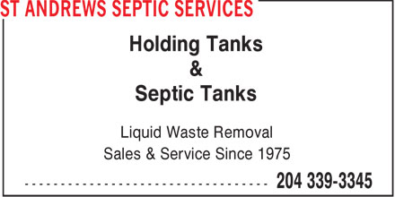 St Andrews Septic Services (204-339-3345) - Display Ad - Holding Tanks & Septic Tanks Liquid Waste Removal Sales & Service Since 1975