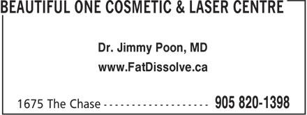 Dr. Poon Cosmetic Medicine Inc (905-820-1398) - Display Ad - Dr. Jimmy Poon, MD www.FatDissolve.ca