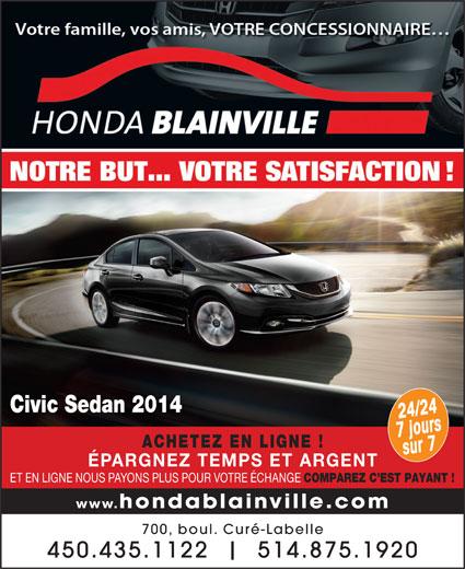 Honda De Blainville (450-435-1122) - Annonce illustrée======= - Civic Sedan 2014 24o/2u4rs 7sjur7 ACHETEZ EN LIGNE ! ÉPARGNEZ TEMPS ET ARGENT ET EN LIGNE NOUS PAYONS PLUS POUR VOTRE ÉCHANGE COMPAREZ C EST PAYANT ! www.hondablainville.com 700, boul. Curé-Labelle 450.435.1122 514.875.192