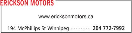 Erickson Motors (204-772-7992) - Annonce illustrée======= - www.ericksonmotors.ca  www.ericksonmotors.ca  www.ericksonmotors.ca  www.ericksonmotors.ca  www.ericksonmotors.ca  www.ericksonmotors.ca