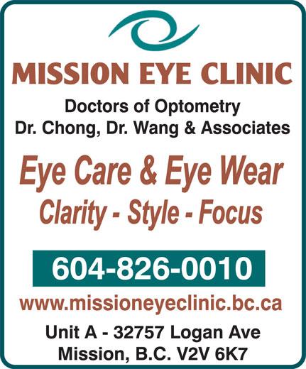 Mission Eye Clinic (604-826-0010) - Annonce illustrée======= -