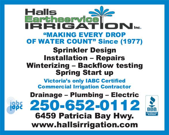 Hall's Irrigation (250-652-0112) - Annonce illustrée======= - 250-652-0112 250-652-0112