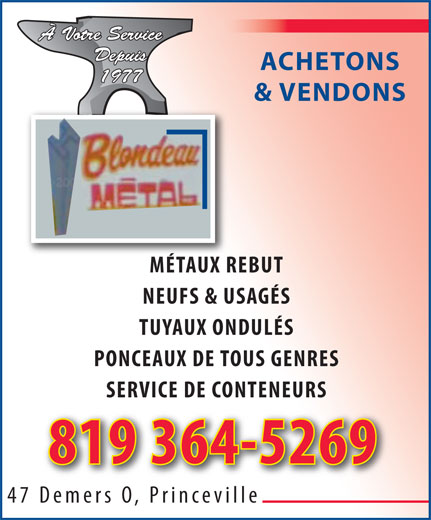 Blondeau Métal Inc (819-364-5269) - Display Ad -