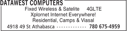 DataWest Computers (780-675-4959) - Annonce illustrée======= - Fixed Wireless & Satelite 4GLTE Xplornet Internet Everywhere! Residential, Camps & Viasal