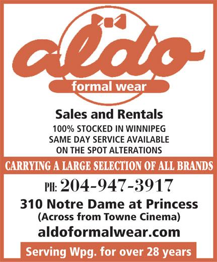 Aldo Formals and Tailors (204-947-3917) - Annonce illustrée======= -