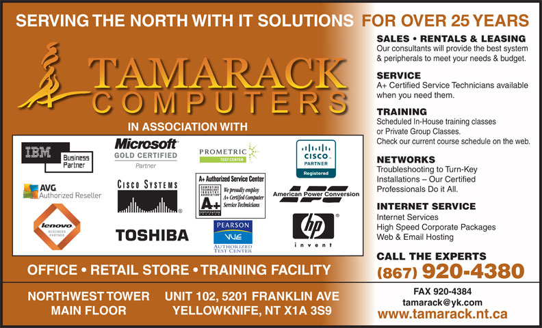 Tamarack Computers (867-920-4380) - Display Ad -