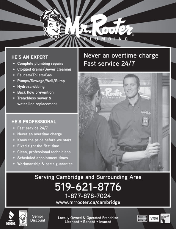 Mr Rooter Plumbing of Cambridge ON (519-621-8776) - Display Ad -