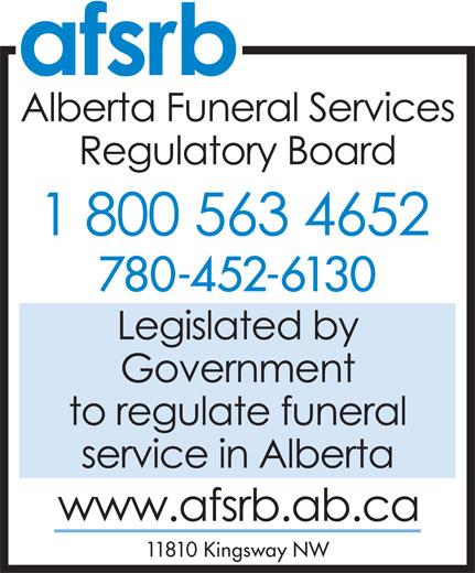 Alberta Funeral Services Regulatory Board (780-452-6130) - Annonce illustrée======= - 780-452-6130 11810 Kingsway NW  780-452-6130 11810 Kingsway NW  780-452-6130 11810 Kingsway NW