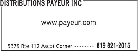 Distributions Payeur Inc (819-821-2015) - Annonce illustrée======= - www.payeur.com
