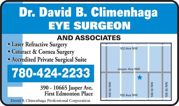 Dr David B Climenhaga (780-424-2233) - Display Ad -