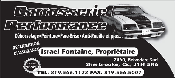 Carrosserie Performance (819-566-1122) - Annonce illustrée======= -
