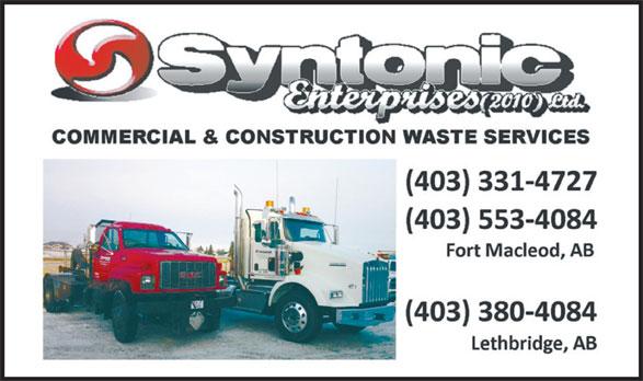 Syntonic Enterprises Ltd (403-331-4727) - Annonce illustrée======= -