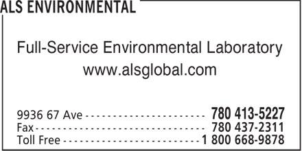 ALS Global (780-413-5227) - Display Ad - Full-Service Environmental Laboratory www.alsglobal.com  Full-Service Environmental Laboratory www.alsglobal.com