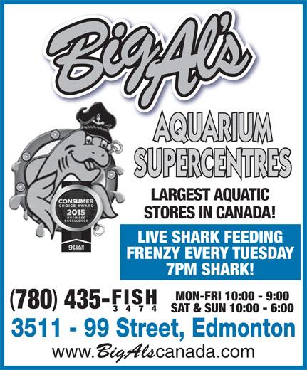 Big Al's Aquarium Supercentres (780-435-3474) - Annonce illustrée======= - AQUARIUM SUPERCENTRES LARGEST AQUATIC STORES IN CANADA! LIVE SHARK FEEDING FRENZY EVERY TUESDAY 7PM SHARK! MON-FRI 10:00 - 9:00 FISH 780 435- 3474 SAT & SUN 10:00 - 6:00 3511 - 99 Street, Edmonton www. BigAls canada.com AQUARIUM LARGEST AQUATIC STORES IN CANADA! LIVE SHARK FEEDING FRENZY EVERY TUESDAY 7PM SHARK! MON-FRI 10:00 - 9:00 FISH 780 435- 3474 SAT & SUN 10:00 - 6:00 3511 - 99 Street, Edmonton www. BigAls canada.com SUPERCENTRES