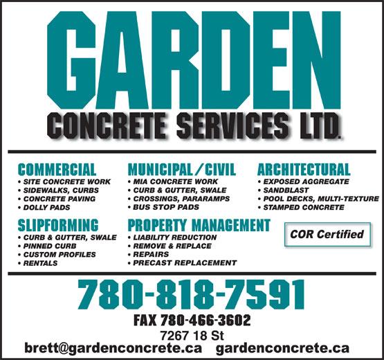 Garden Concrete Services Ltd (780-818-7591) - Annonce illustrée======= - BUS STOP PADS BUS STOP PADS REPAIRS PRECAST REPLACEMENT FAX 780-466-3602 PRECAST REPLACEMENT FAX 780-466-3602 REPAIRS