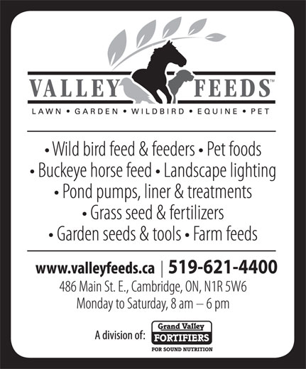 Valley Feeds (Div of Grand Valley Fortifiers) (519-621-5204) - Annonce illustrée======= - 519-621-4400