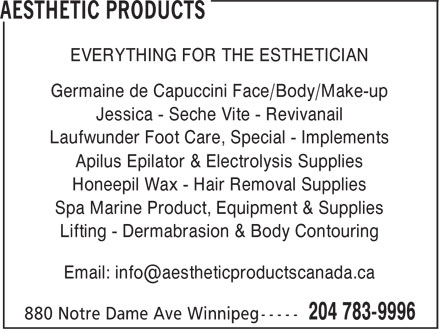 Aesthetic Products (204-783-9996) - Display Ad -