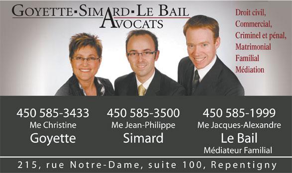 Goyette Simard Le Bail Avocats (450-585-3500) - Annonce illustrée======= -