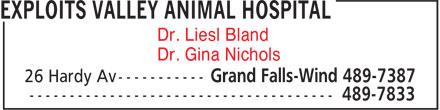 Exploits Valley Animal Hospital (709-489-7387) - Annonce illustrée======= - Dr. Liesl Bland Dr. Gina Nichols