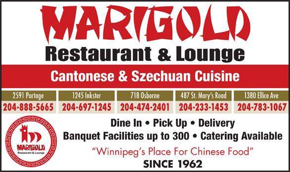 Marigold Restaurants (204-233-1453) - Annonce illustrée======= -