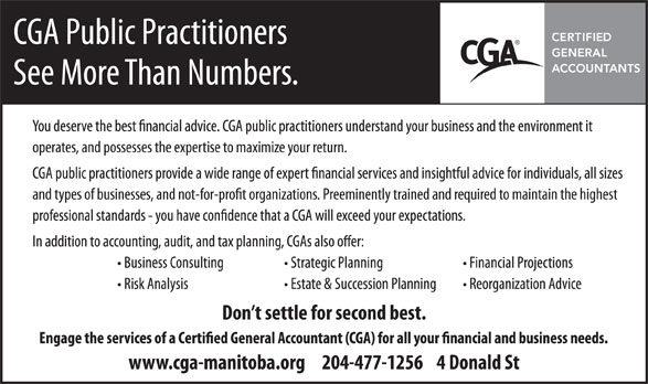 The Certified General Accountants Association of Manitoba (204-477-1256) - Annonce illustrée======= -