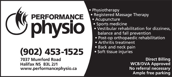 Performance Physiotherapy Ltd (902-453-1525) - Annonce illustrée======= -
