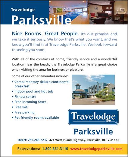 Travelodge (250-248-2232) - Annonce illustrée======= - Parksville Direct: 250.248.2232   424 West Island Highway, Parksville, BC  V9P 1K8