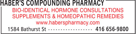 Haber's Compounding Pharmacy (416-656-9800) - Display Ad -