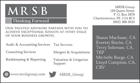 MRSB Chartered Accountants (902-368-2643) - Annonce illustrée======= -